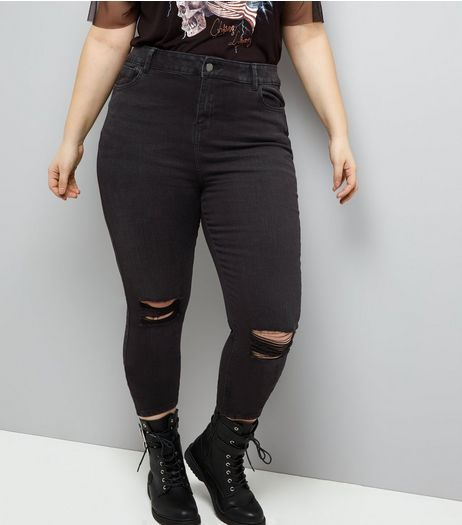 lace up in new arrival top-rated genuine Curves Black Ripped Knee Skinny Jeans | New Look | My style ...