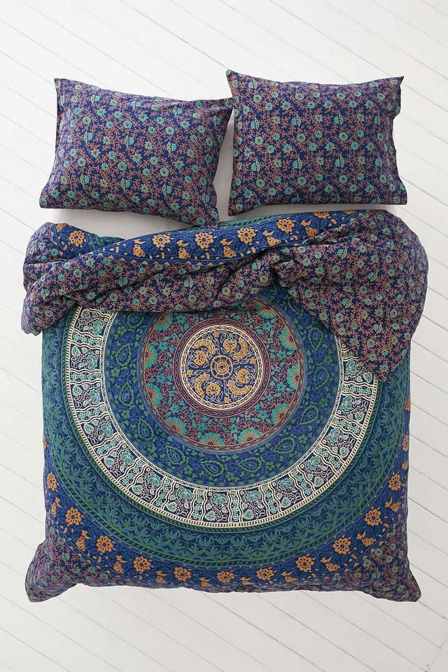 Mystic Blue Forest Bohemian Tapestry Elephant Mandala Indian Queen