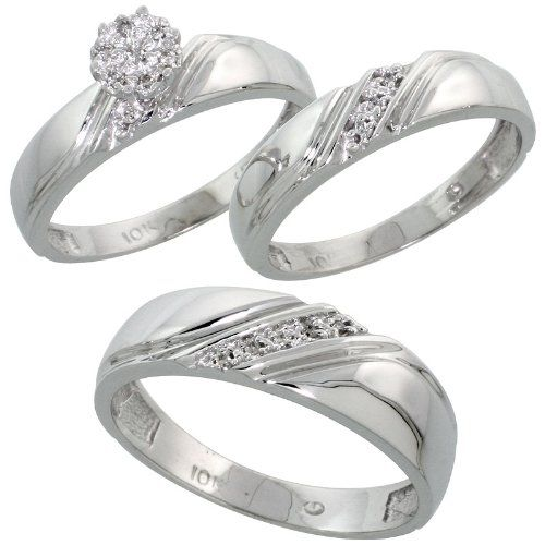 10k White Gold Diamond Trio Engagement Wedding Ring Set for Him and