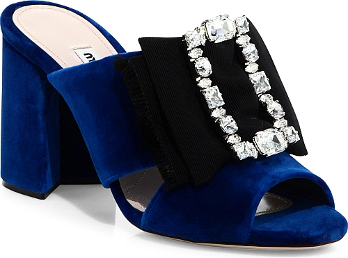 cb6d8bf2f9d Miu Miu - Embellished Bow Velvet Mules - Cobalto Blue. Luxe velvet mule  with oversize crystal-accented bow. Self-covered block heel