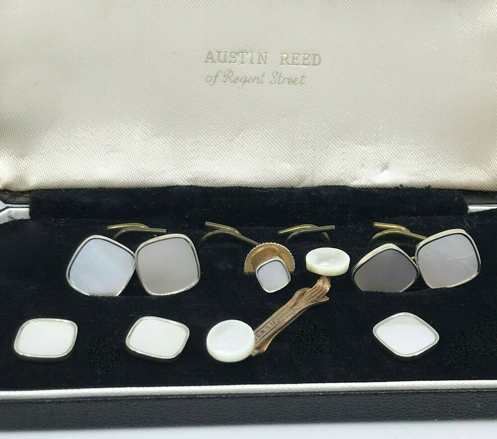 Mother Of Pearl Cufflinks Shirt Stud Collar Bar Set 1920s Uk Germany Austin Reed Unbranded Pearl Cufflinks Mother Of Pearl Jewelry Studded Collar
