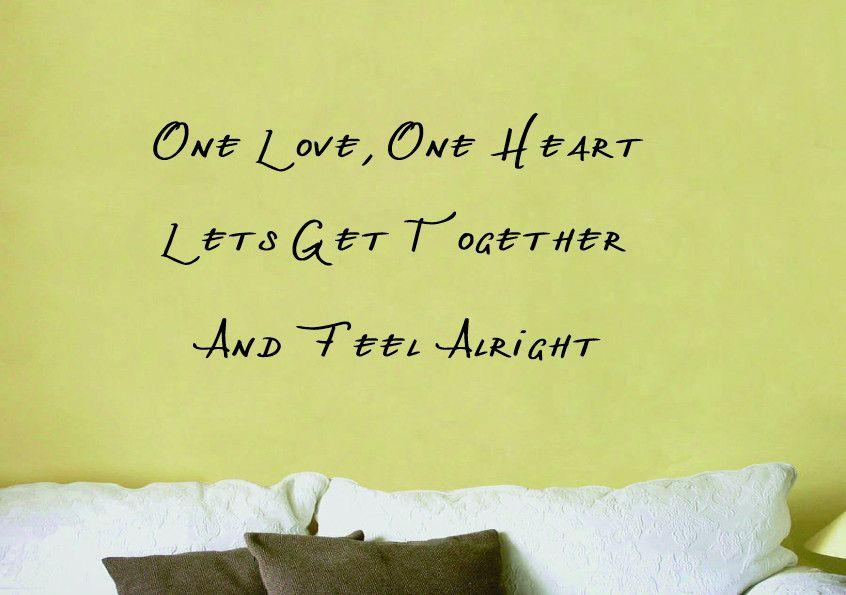Bob Marley One Love Song Lyrics Music Wall Art Sticker ...