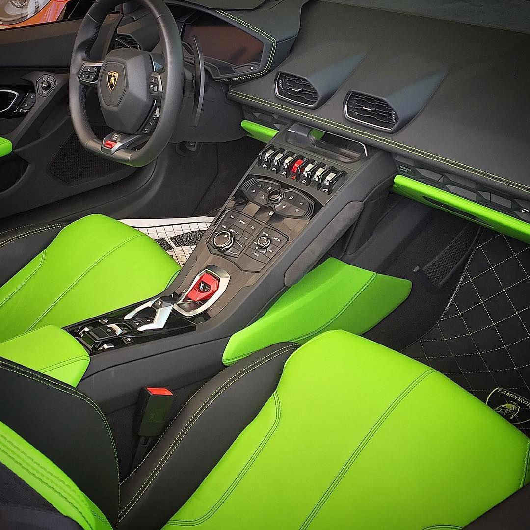 huracan lamborghini spyder lime green and black interior