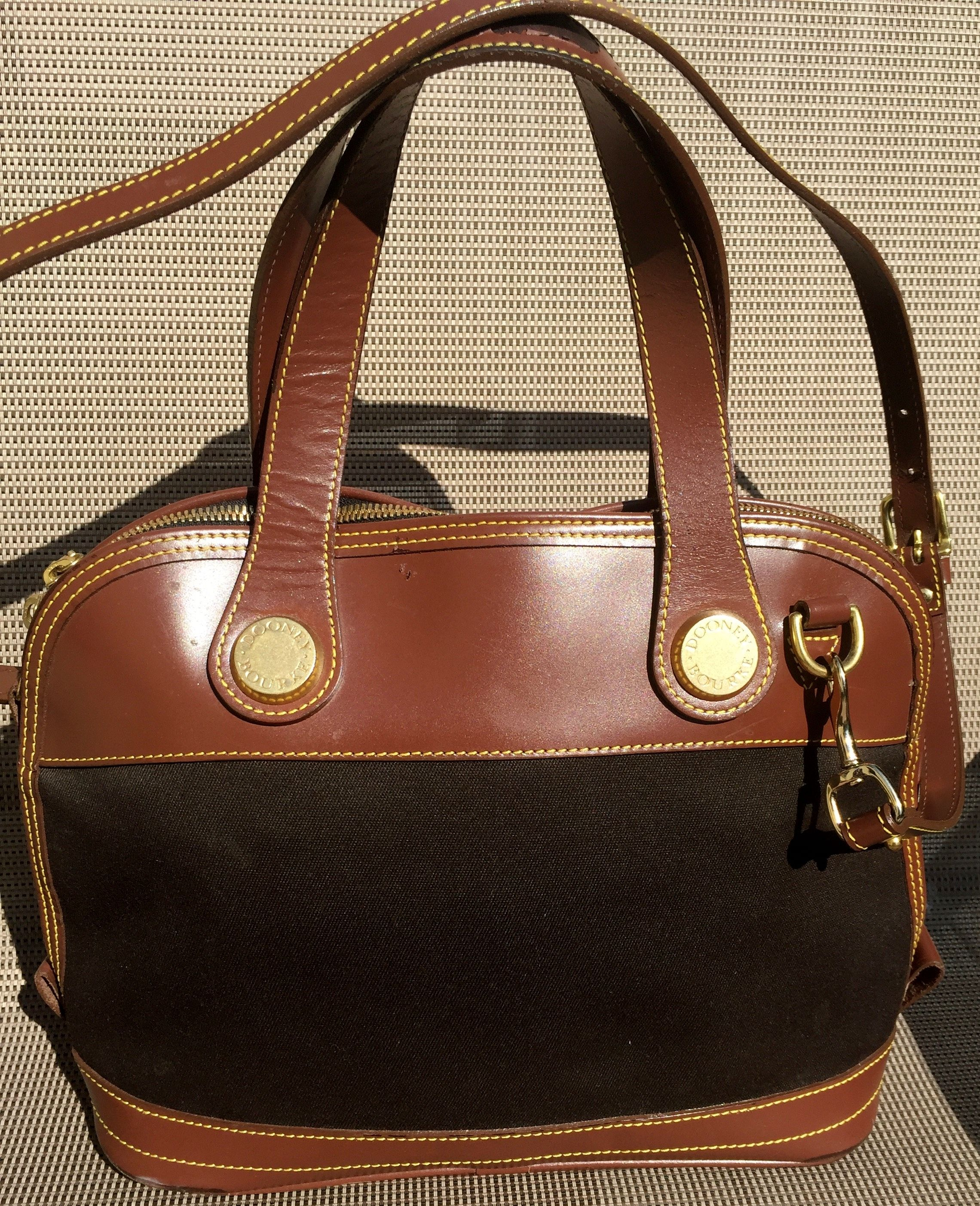 Vintage Dooney Bourke Handbag Brown Leather Canvas Purse Crossbody Made In Usa