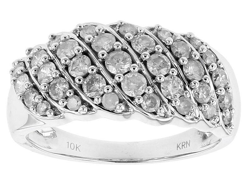 1 00ctw Round White Diamond 10k White Gold Band Ring White Gold Rings White Gold Ring Band Round Diamond Engagement Rings
