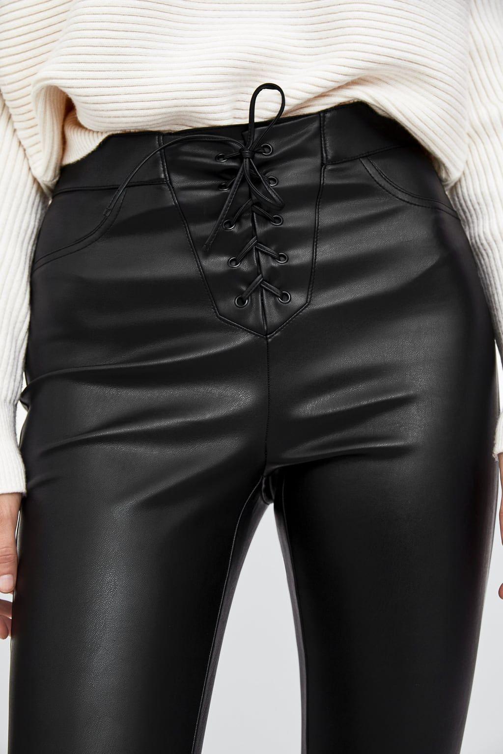 8b26b6fe5b Bild 5 von LEGGINGS AUS KUNSTLEDER MIT SCHNÜRUNG von Zara High Waisted  Leather Leggings, Leather