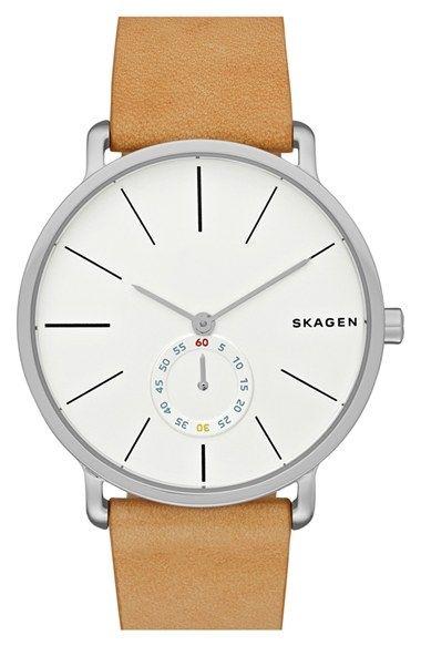 'Hagen' Leather Strap Watch by Skagen  in Watches