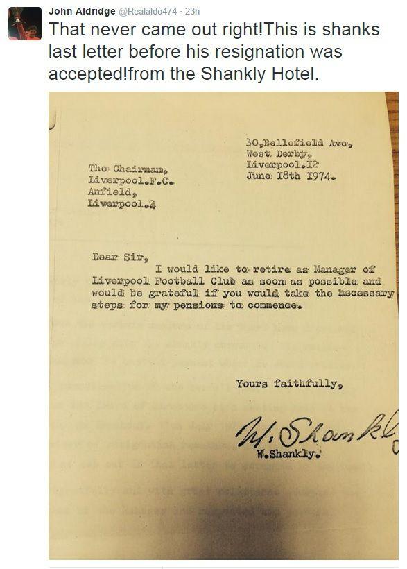 Liverpool fc legend bill shanklys resignation letter revealed john aldridge reveals bill shanklys resignation letter from the archive of the shankly hotel taken thecheapjerseys Image collections