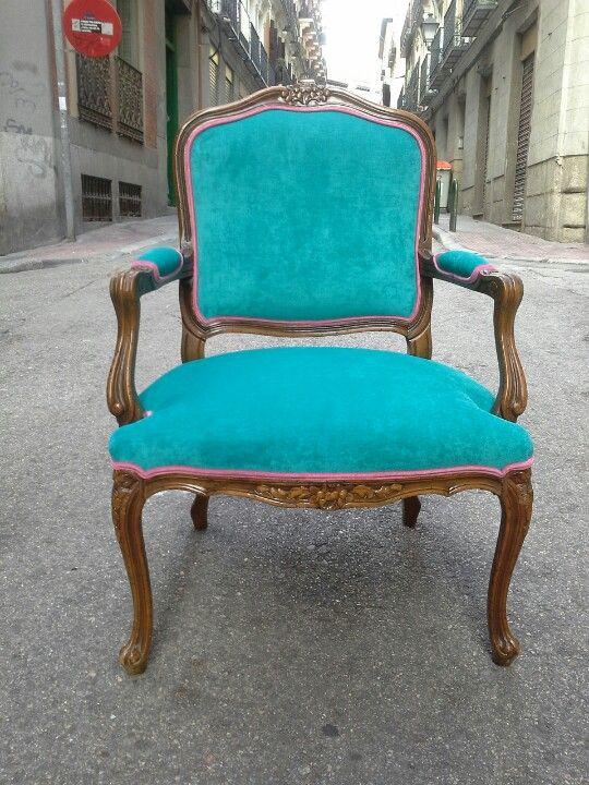 Butaca luis xv tapizada en chenilla turquesa decoracion pinterest nova sillas y sillas - Sillas turquesa ...