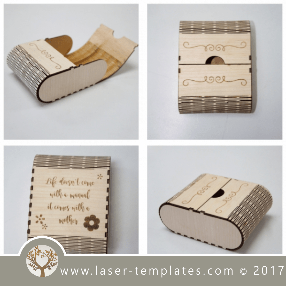 Living Hinge Wooden Box Template For Laser Cut And Engrave