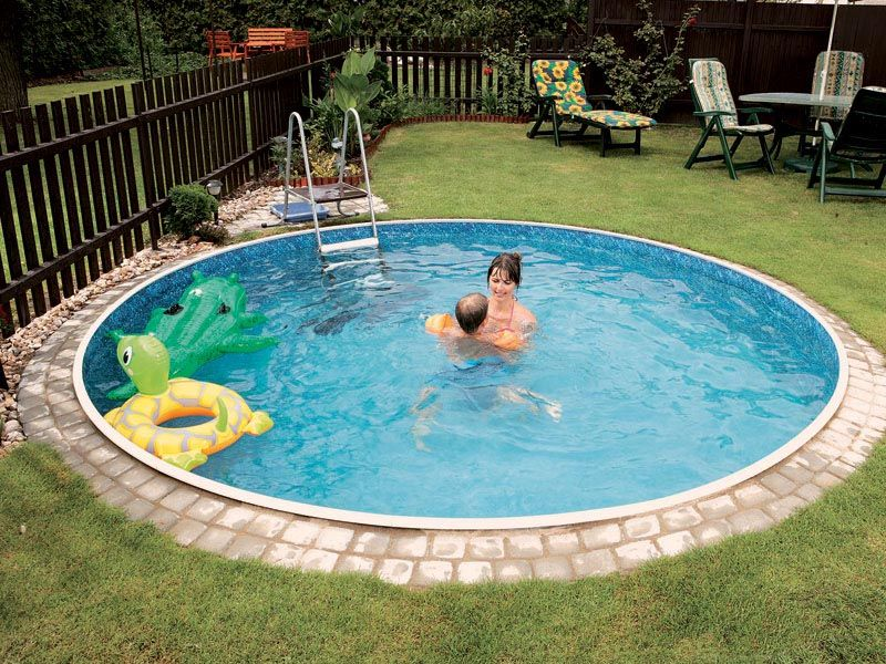 Small round inground pool small pools pinterest rounding backyard and small pools Inground swimming pool prices