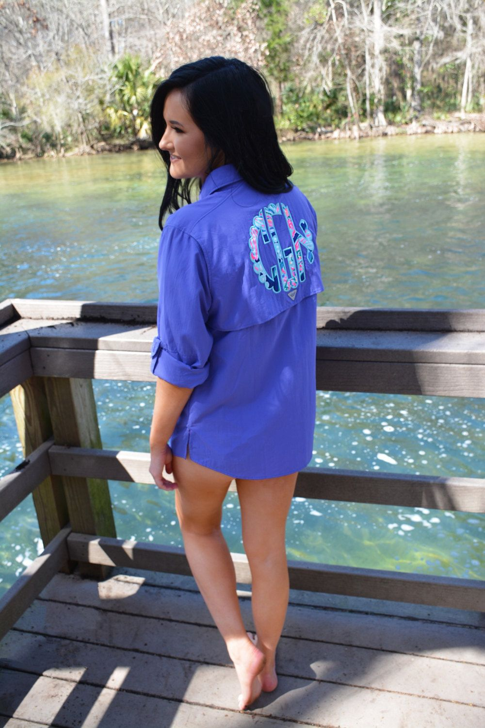 b00e4724c92a6 Preppy Lilly Pulitzer Monogrammed Columbia PFG Fishing Shirt Cover Up by  TantrumEmbroidery on Etsy