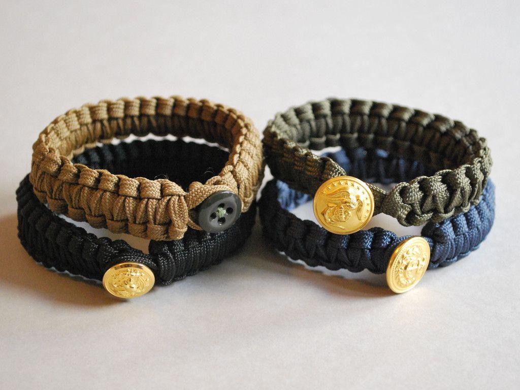 U S Military Button Closures Parachute Cord Bracelets