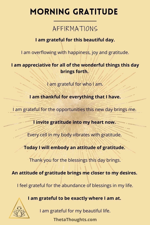Positive Affirmations Morning Gratitude