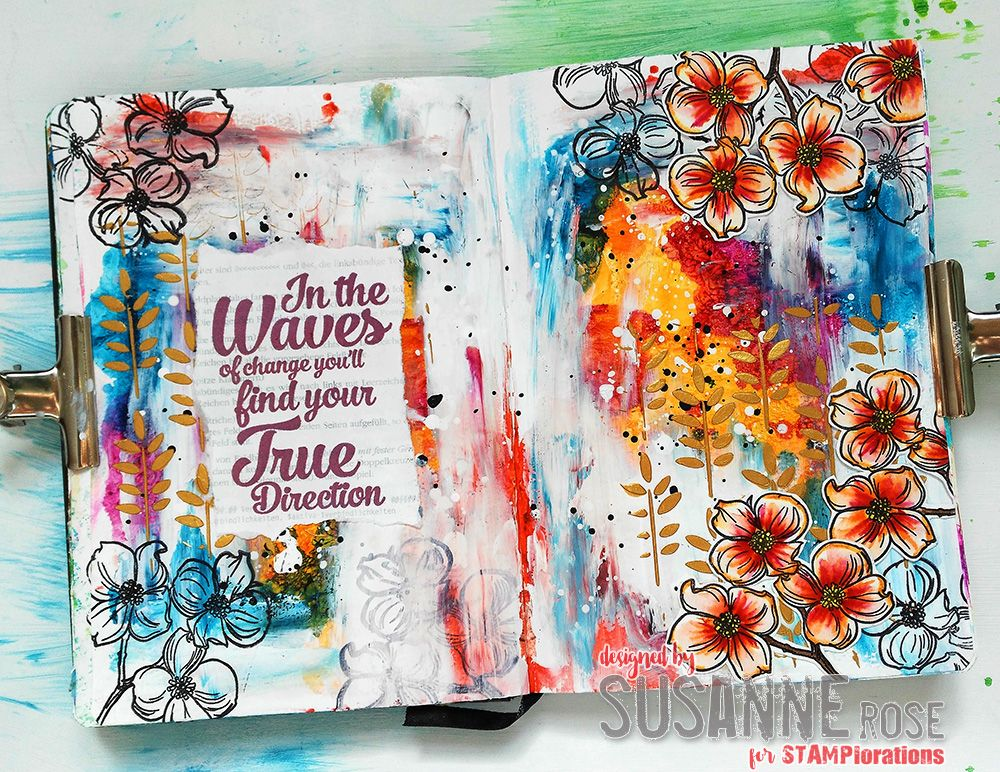 {Mixed Media Tutorial} Autumnal Art Journal Page by Susanne #artjournalmixedmediainspiration
