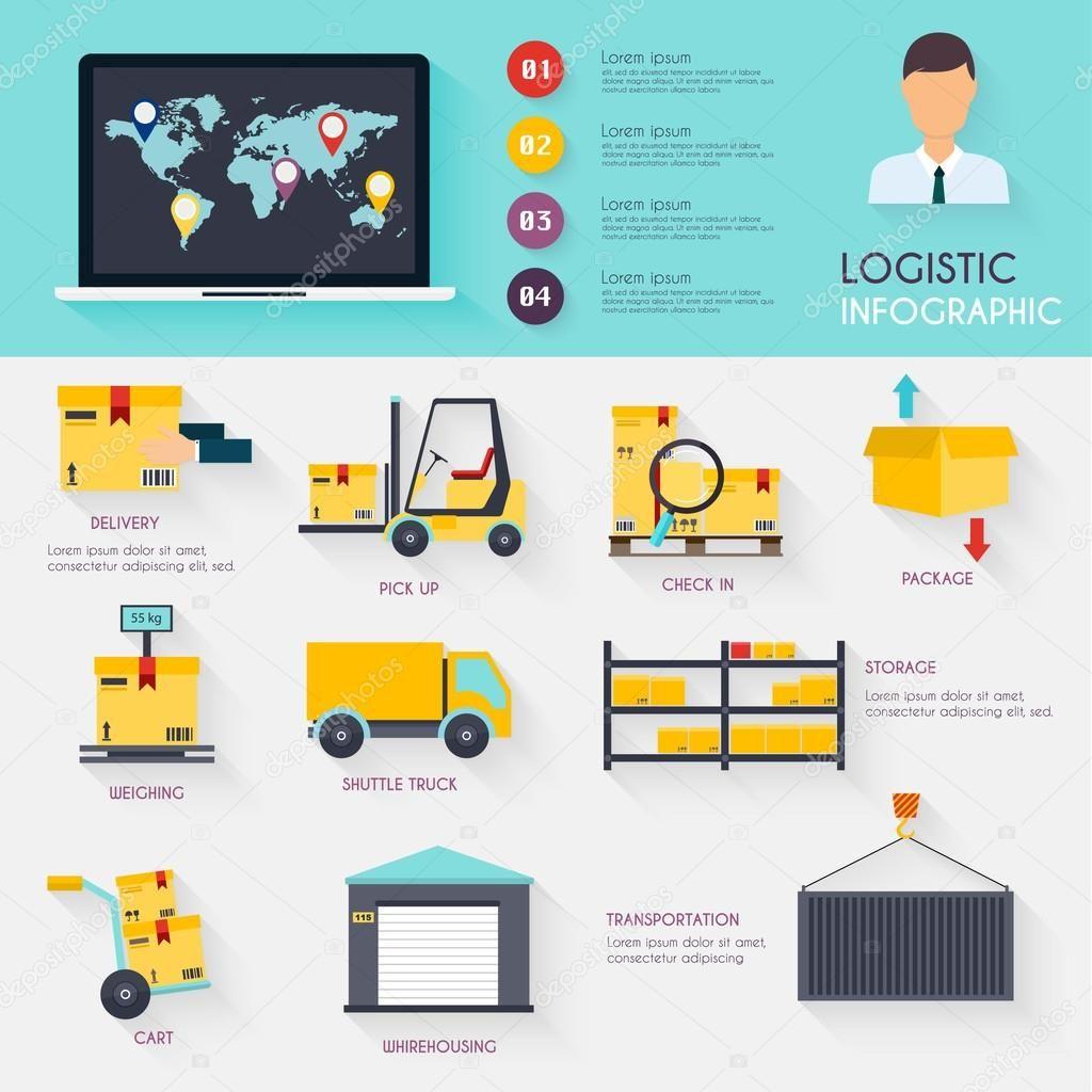 Infografía Logística Conjunto De Planos Almacén Logística Iconos En Blanco Y Transporte Ilustración De Vector De Almacenamien Logistics Infographic Warehouse