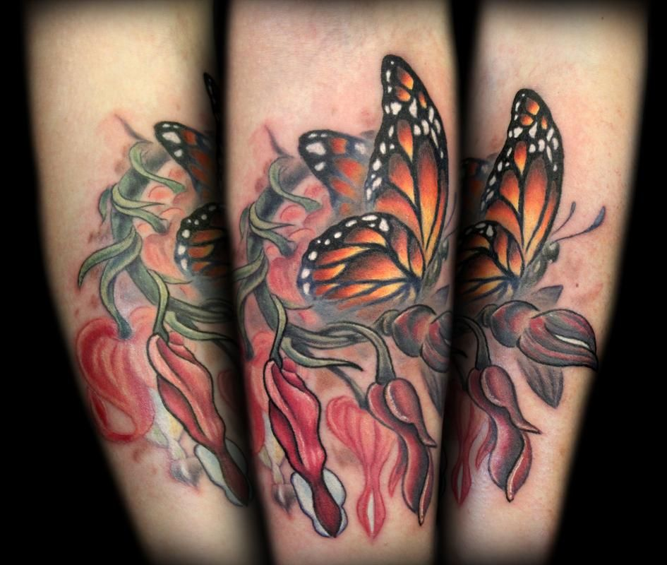 Bleeding Hearts And Monarch Butterfly Memorial Tattoo Memorial Tattoo Designs Heart Flower Tattoo Butterfly Tattoo