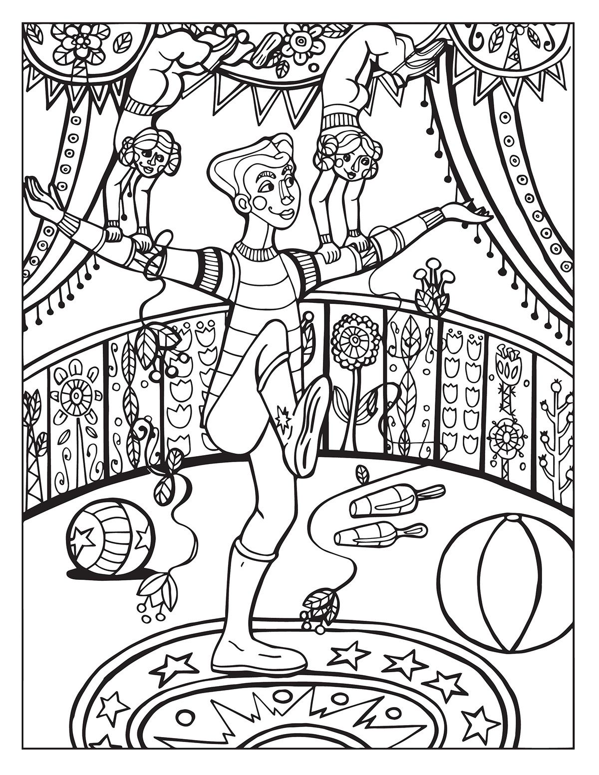 A Day At The Circus Coloring Page On Behance Coloring Pages Coloring Books Colorful Drawings