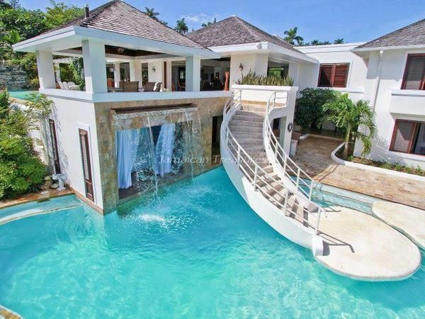 image for dream house with pool and slide - House Pools With Slides
