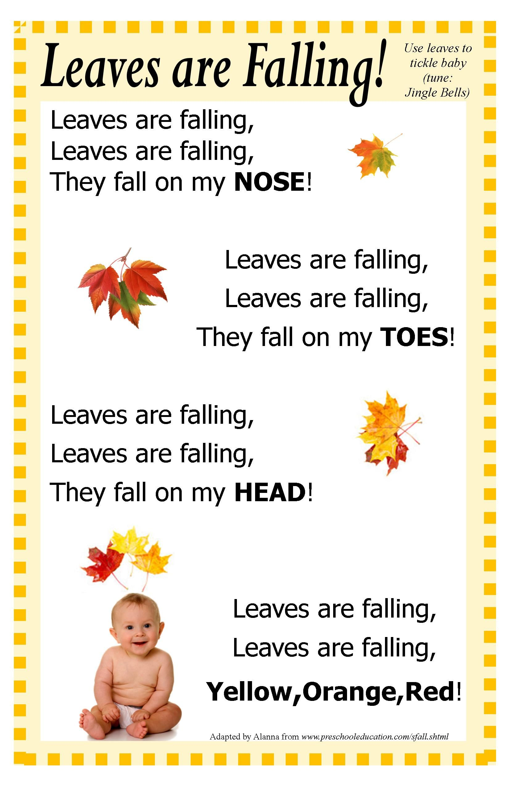 This Fall Autumn Baby Time Rhyme Adapted From Pinterest