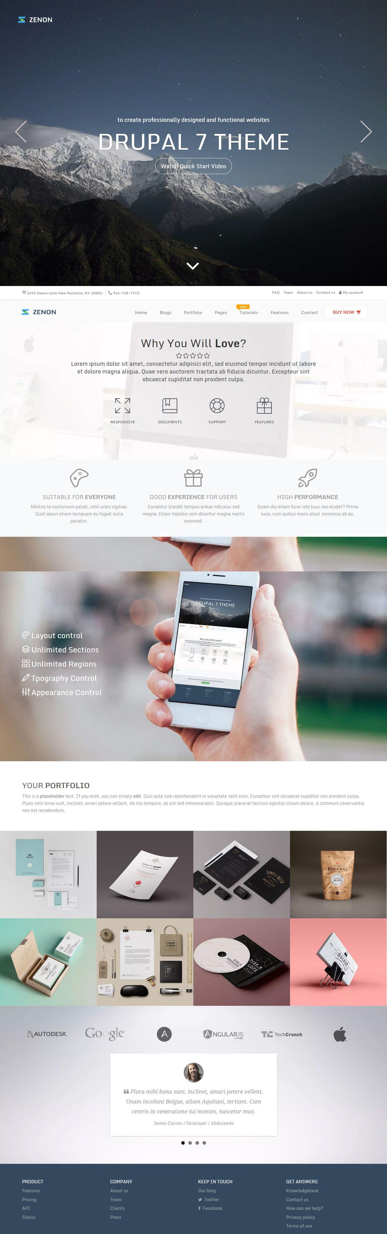 Zenon Premium Responsive Multipurpose Drupal 7 Theme Drupal Theme Website Design