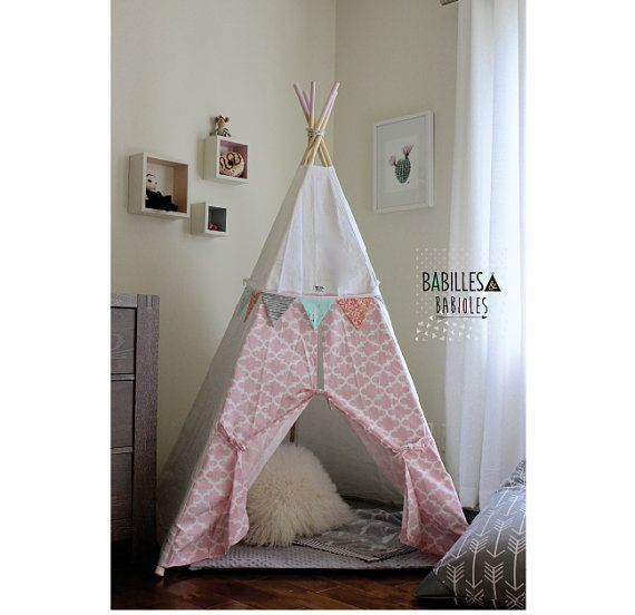 Teepee for kids hide away play tent for kids room Pink u0026 White  sc 1 st  Pinterest & Teepee for kids hide away play tent for kids room Pink u0026 White ...