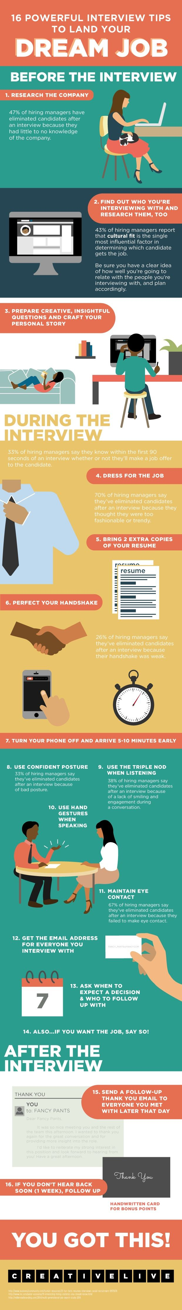 infographic  16 job interview tips to help you land your dream job