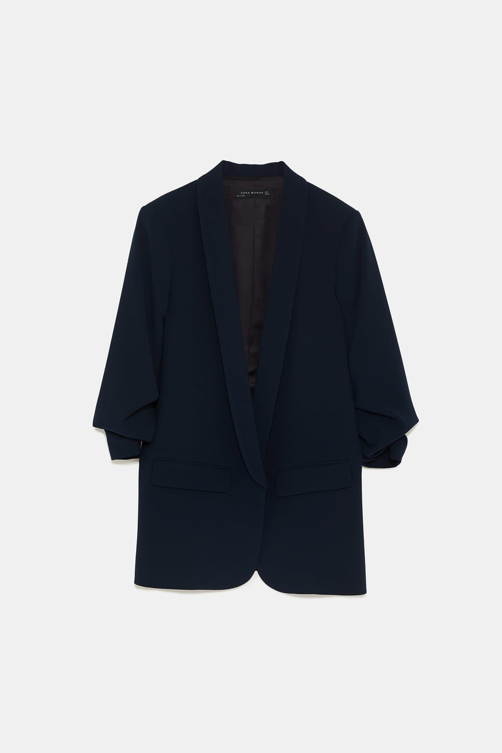 low priced 9c3c1 05df7 Zara Navy Blue Crepe Blazer