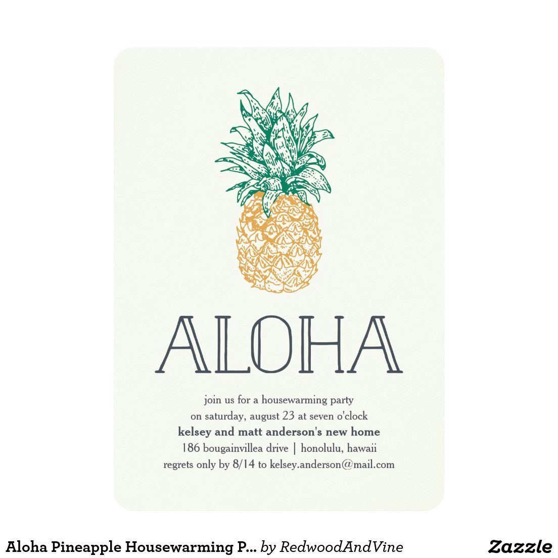 Aloha Pineapple Housewarming Party Invitation | Pineapple ...