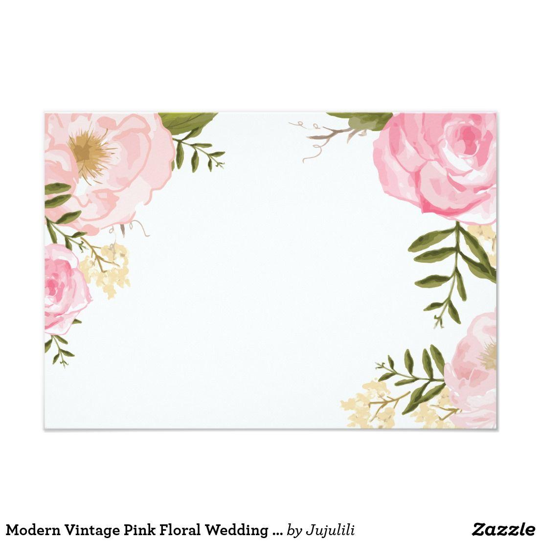 Modern Vintage Pink Floral Wedding Blank Card Zazzle Com In 2021 Floral Border Design Flower Drawing Design Floral Wedding