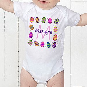 Colorful Eggs Personalized Baby Bodysuit