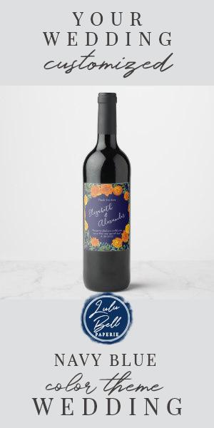 Orange & Navy Blue Peony & Rose Floral Wedding Wine Label | Zazzle.com #bluepeonies