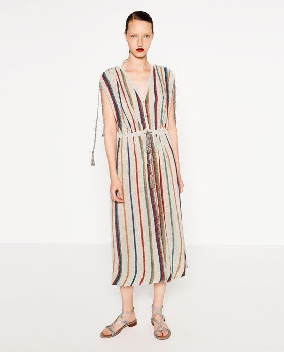 11e78b10 Image 1 of STRIPED DRESS from Zara | DRESS | Dresses, Striped dress ...
