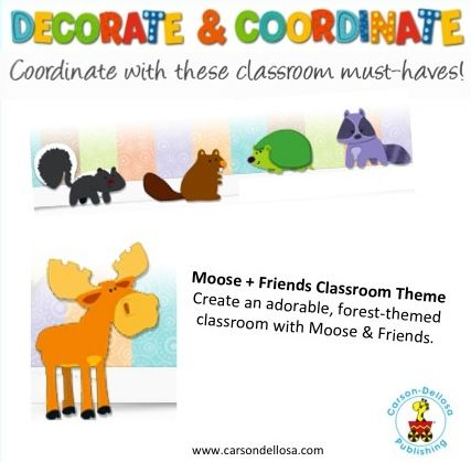Create adorable, forest-themed classroom with Moose + Friends! Classroom decor that is fabulous and functional!