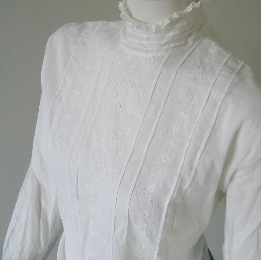 19d1f572dd64b Beautiful Edwardian White Shirt Waist Blouse with High Collar Tucks and  Embroidery