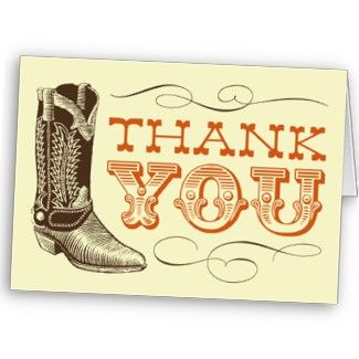 Country And Western Themed Thank You Card Cards Thanks Thankyou