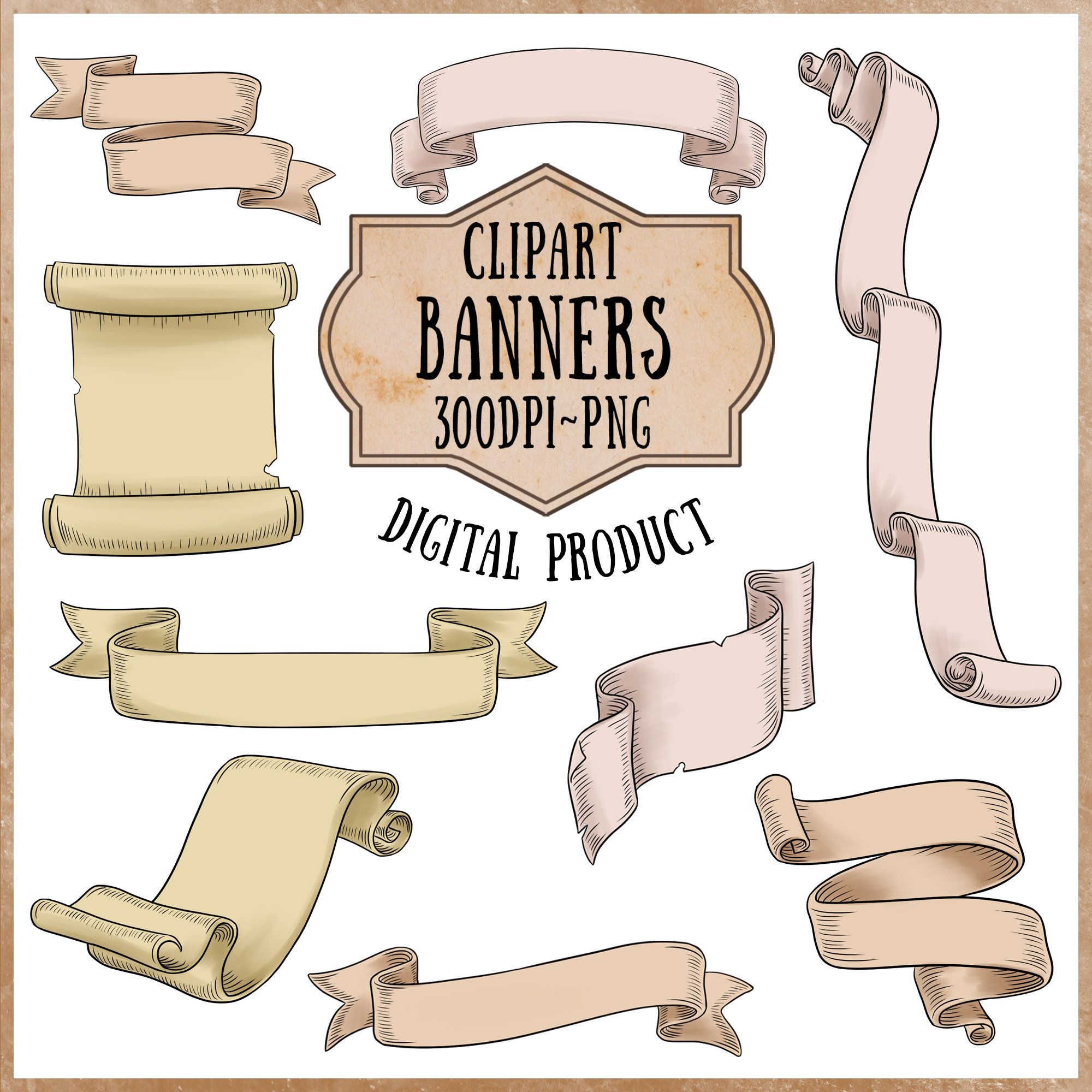 Printable Banner Clipart Bunting Digital Scrapbooking Medieval Paper Clipart Fantasy Scroll Digital Clipart Set Digital Banner Deco Set Clip Art Medieval Banner Scrapbook Collection