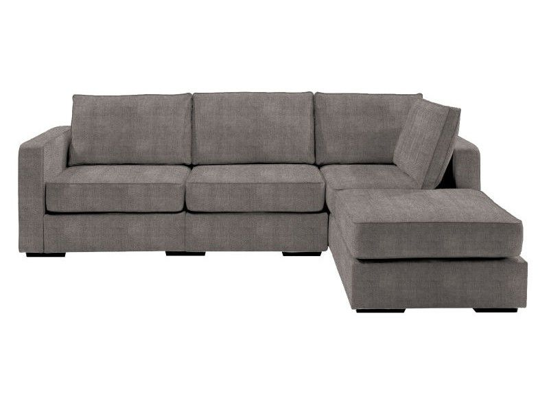 Chaise Sectional With Grey Herringbone Chenille Covers