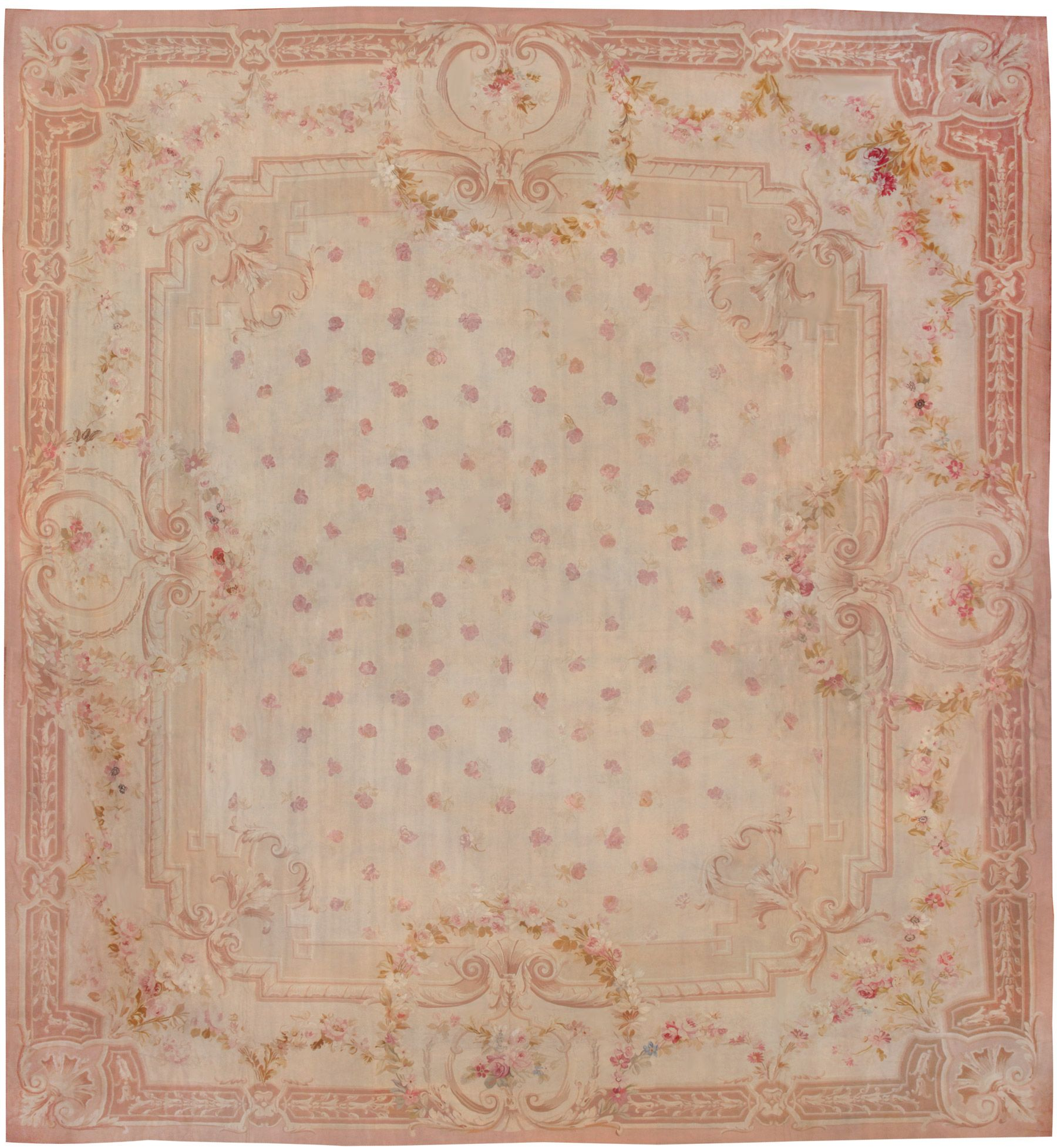 Antique Aubusson French Rug 8515 Detail Large View By Nazmiyal
