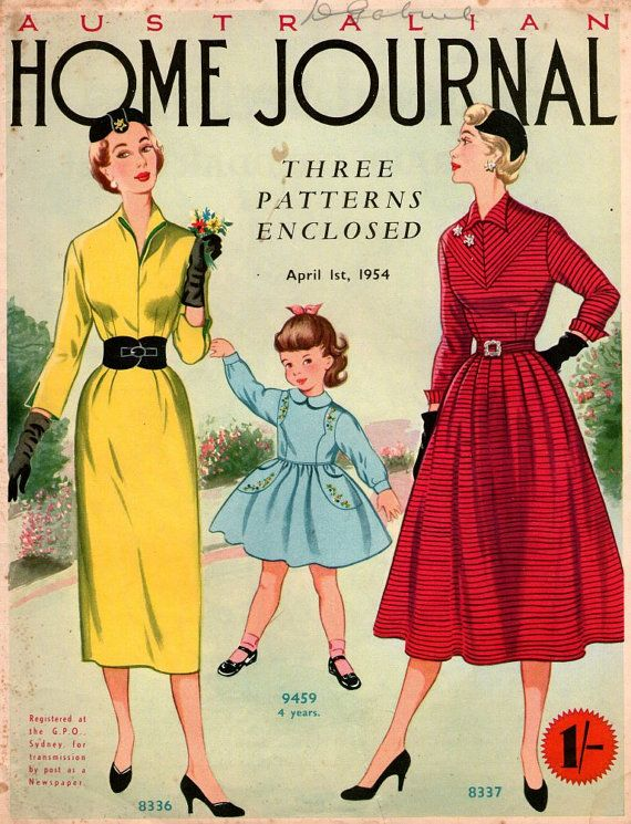 April 1954 Australian Home Journal 1950s Vintage Magazine Sewing