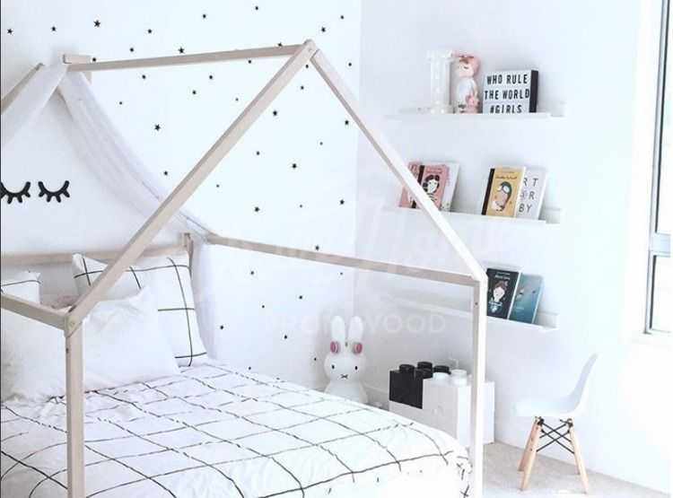 Wood Bed Full Double Toddler Bed Frame Tent Bed Wooden Etsy House Frame Bed Toddler Bed Frame House Beds