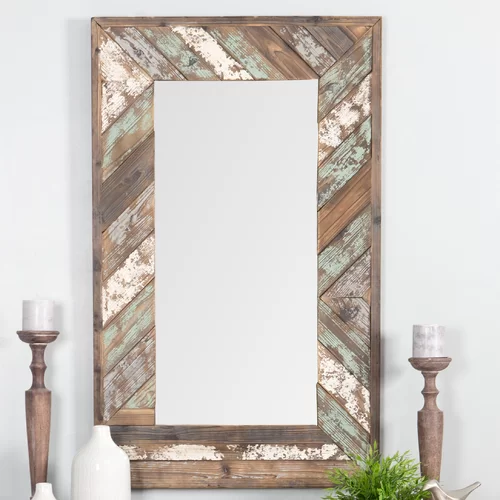 Yorktown Distressed Wood Accent Mirror Wood Slat Wall How To Distress Wood Window Mirror Decor