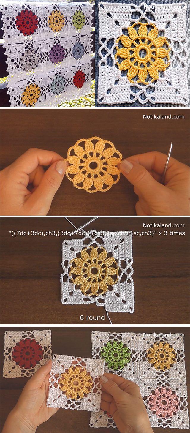 Crochet Flower Granny Square Motif #grannysquares