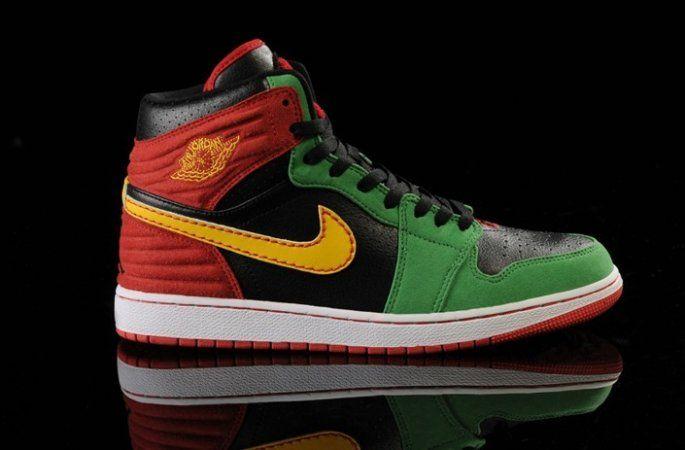 size 40 1610c 02068 Nike Air Jordan I 1 Retro Mens Shoes High Fur Green Black Red