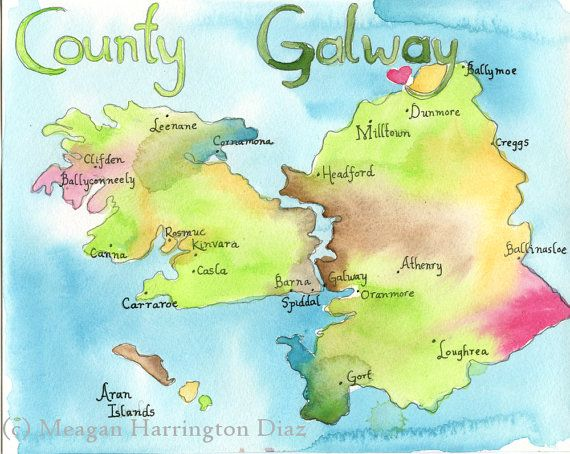 Map Art Ireland Map County Galway Ireland Large Fine Art