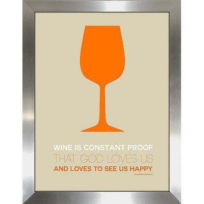 "PicturePerfectInternational ""Wine Poster Orange"" Framed Vintage Advertisement Size:"