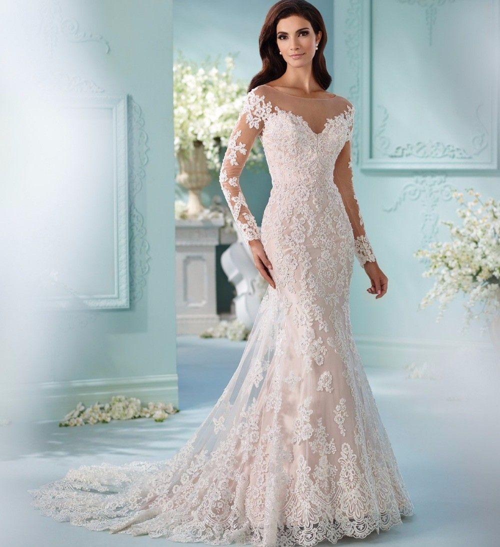 Vestido-de-Noiva-Sereia-Bead-Lace-Appliques-Long-Sleeves-Mermaid ...