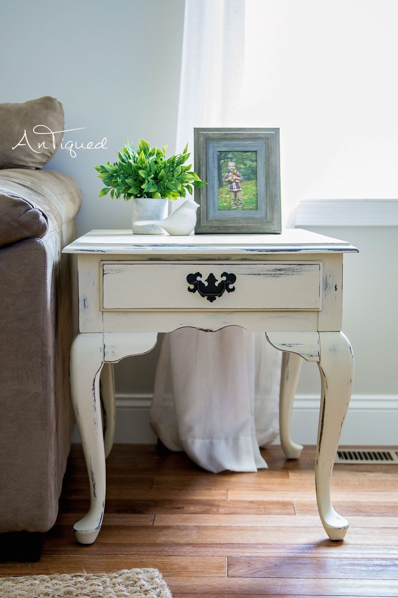 Cream distressed end table distressed furniture diy