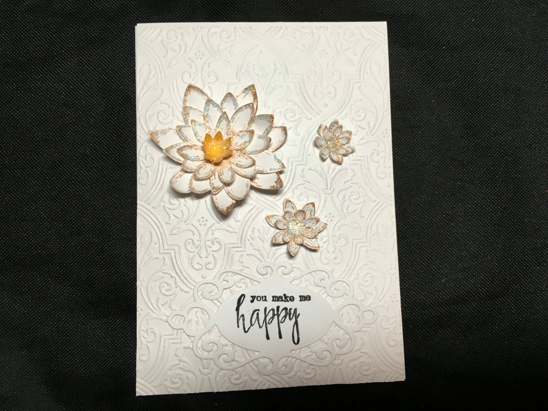 Valentines card handmade flowerembossed background handmade cards