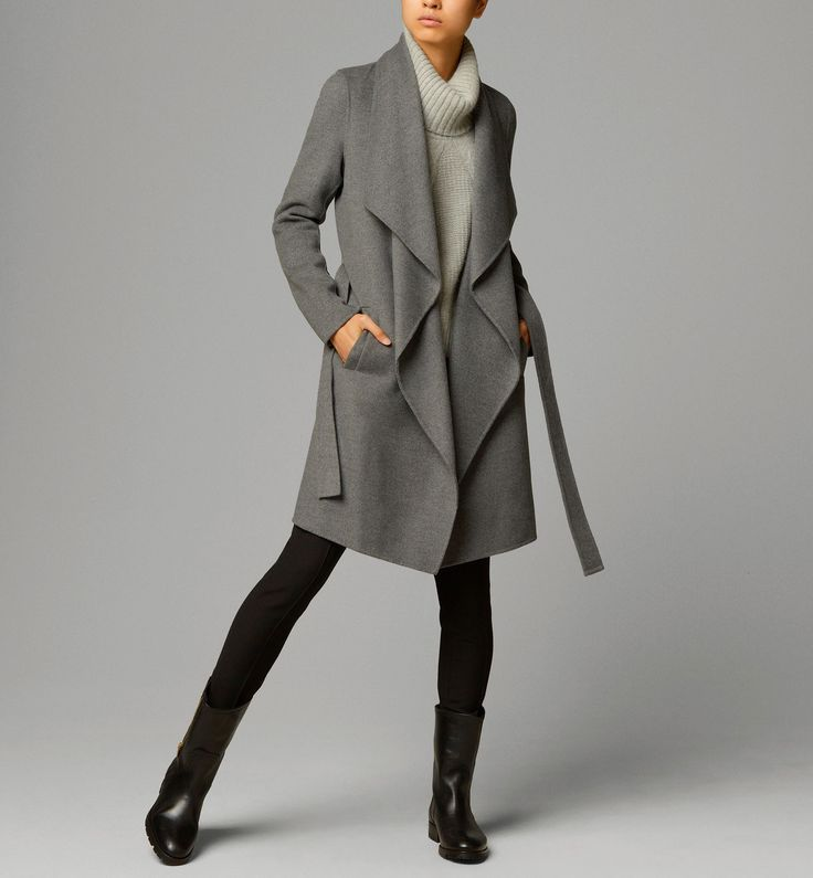 MASSIMO DUTTI | Coat with belt in grey | 90% wool, 10% cashmere ...